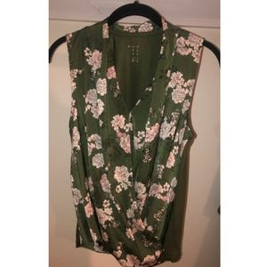 Green Floral Sleeveless Blouse